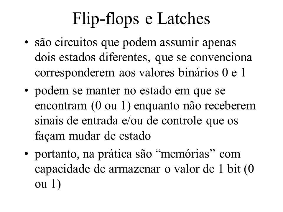 Flip-flops e Latches são circuitos que podem assumir apenas dois estados diferentes, que se convenciona corresponderem aos valores binários 0 e 1.