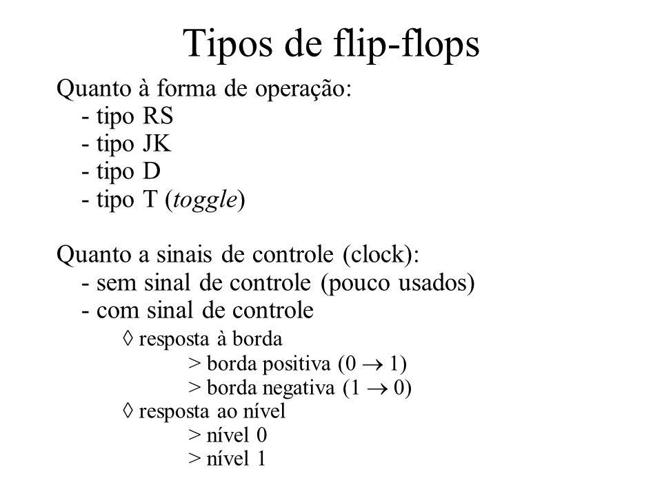 Tipos de flip-flops Quanto à forma de operação: - tipo RS - tipo JK