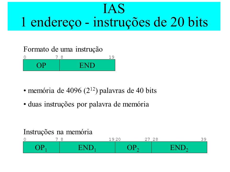 IAS 1 endereço - instruções de 20 bits