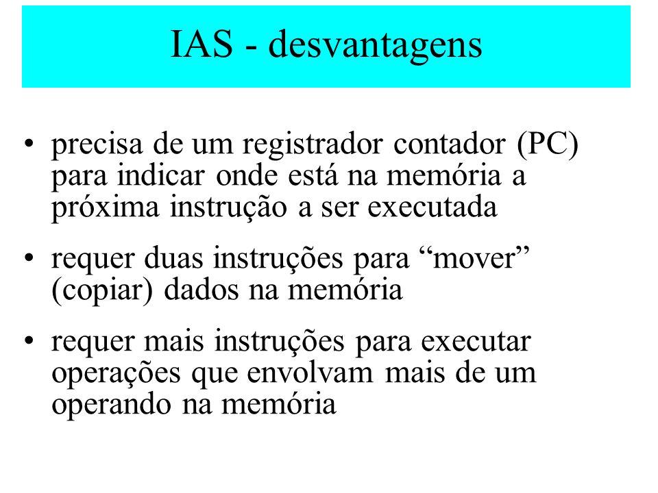 IAS - desvantagens precisa de um registrador contador (PC) para indicar onde está na memória a próxima instrução a ser executada.