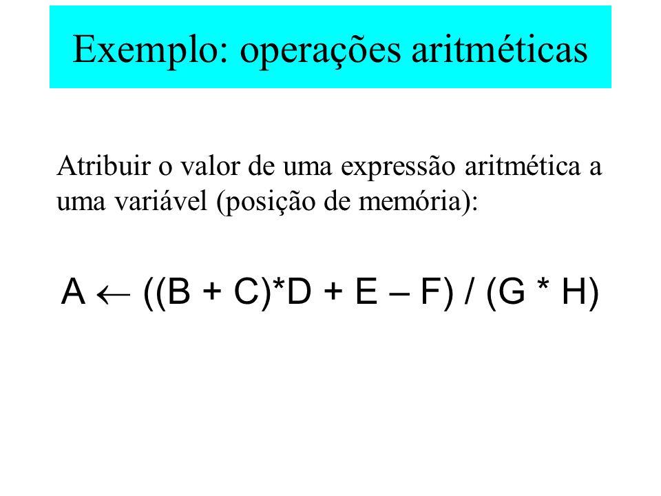 Exemplo: operações aritméticas