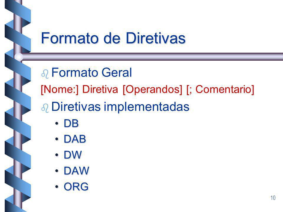 Formato de Diretivas Formato Geral Diretivas implementadas