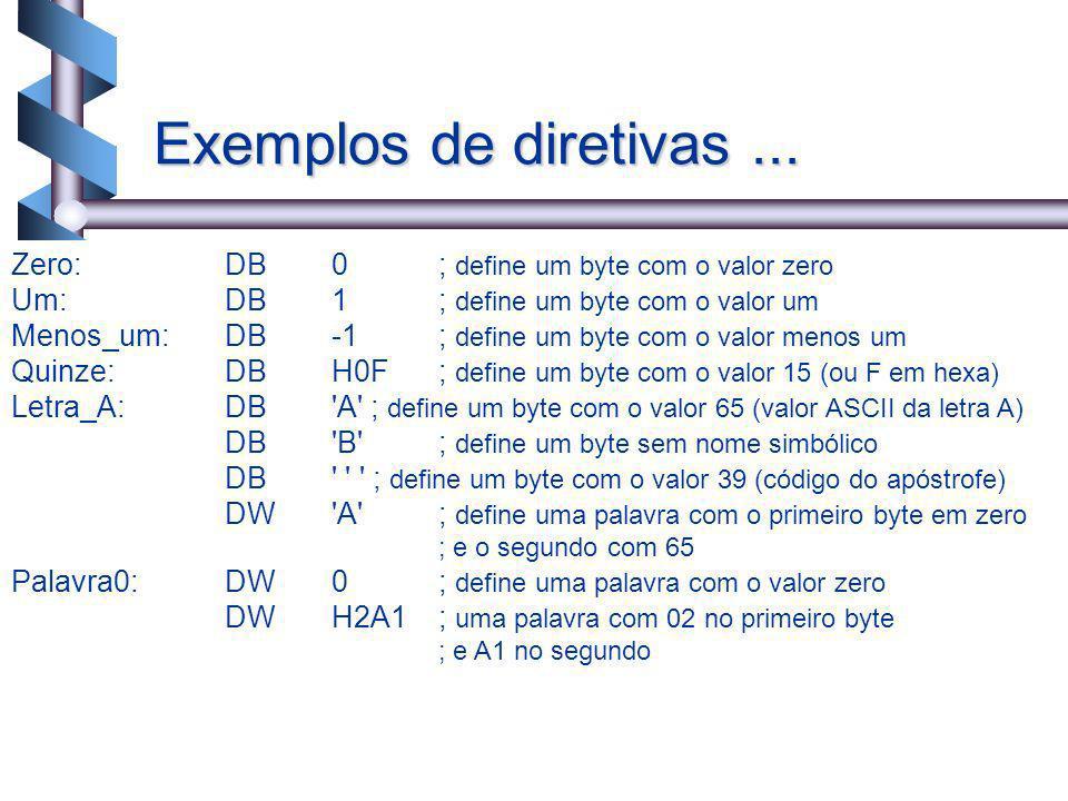 Exemplos de diretivas ... Zero: DB 0 ; define um byte com o valor zero