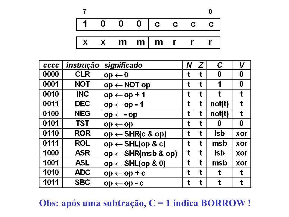 Obs: após uma subtração, C = 1 indica BORROW !
