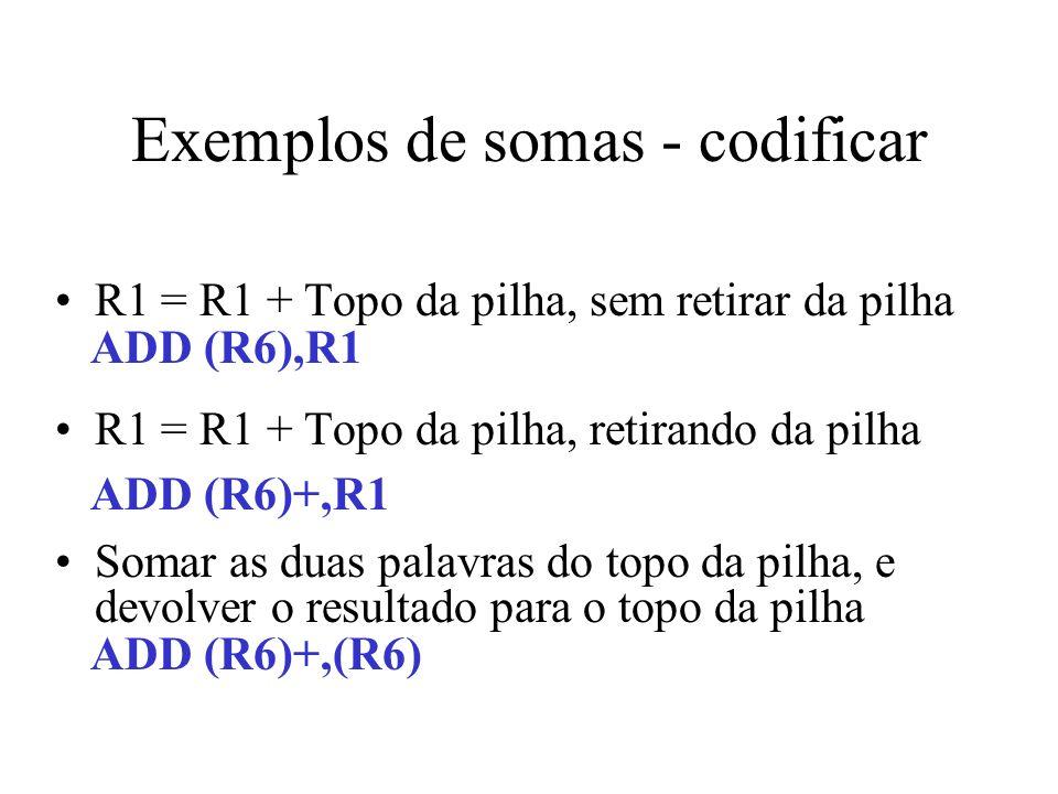 Exemplos de somas - codificar