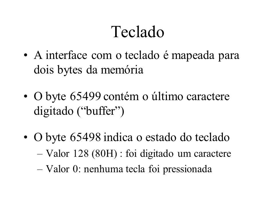 Teclado A interface com o teclado é mapeada para dois bytes da memória