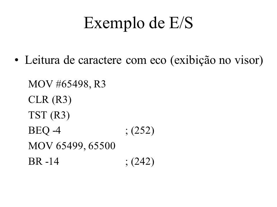 Exemplo de E/S Leitura de caractere com eco (exibição no visor)