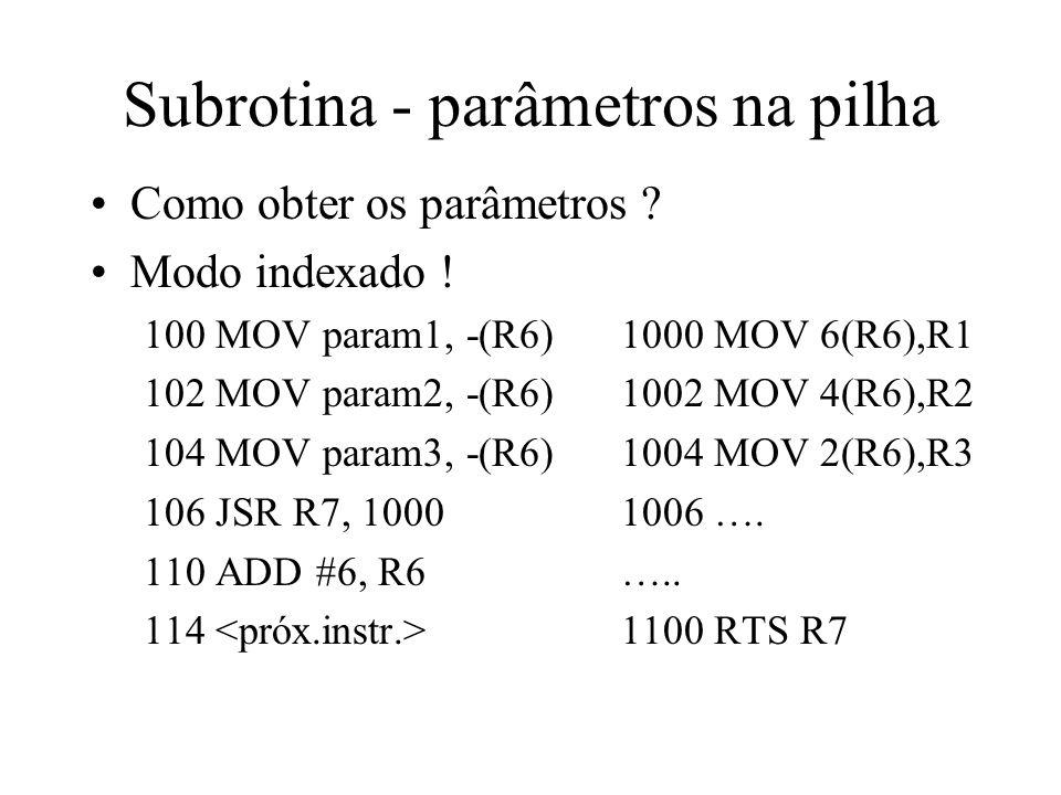 Subrotina - parâmetros na pilha