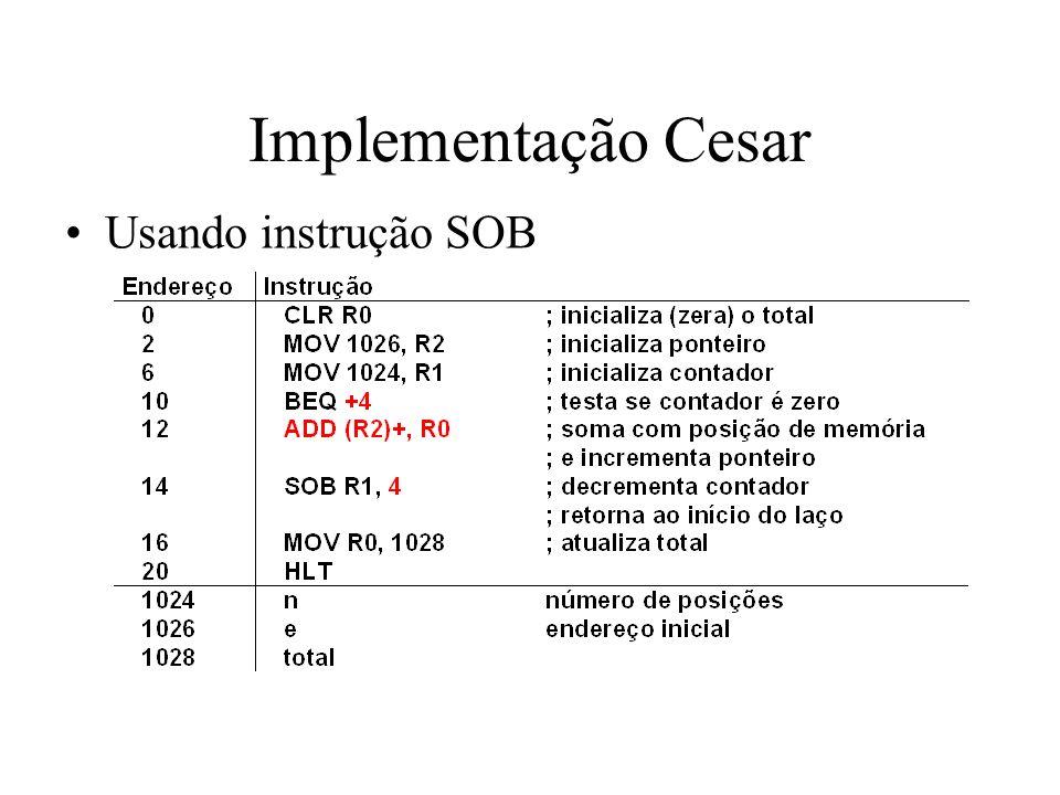 Implementação Cesar Usando instrução SOB