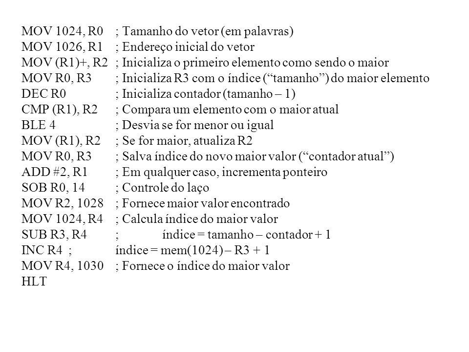 MOV 1024, R0 ; Tamanho do vetor (em palavras)
