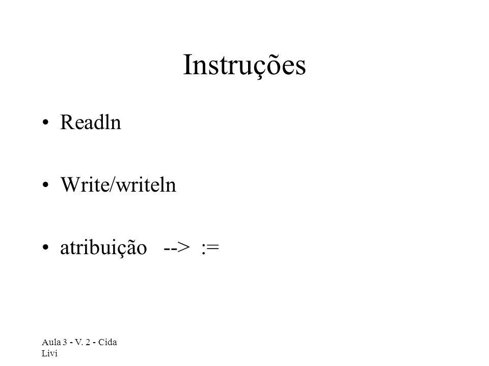 Instruções Readln Write/writeln atribuição --> :=