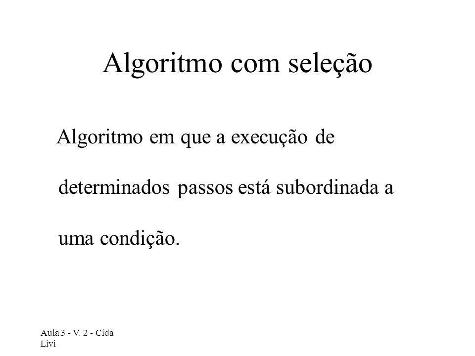 Algoritmo com seleção Algoritmo em que a execução de determinados passos está subordinada a uma condição.
