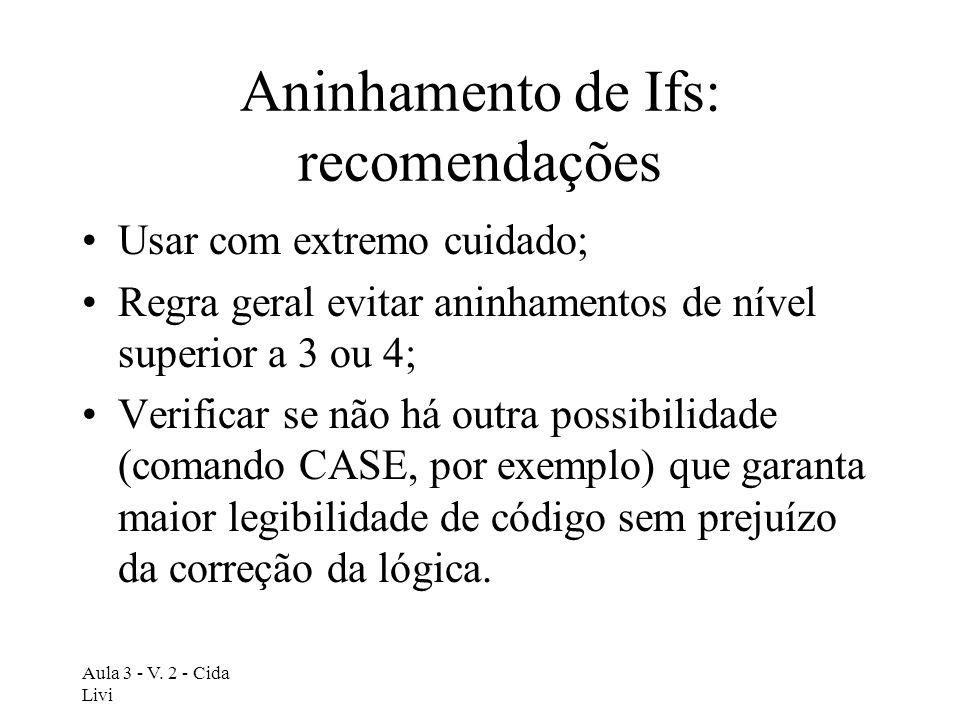 Aninhamento de Ifs: recomendações