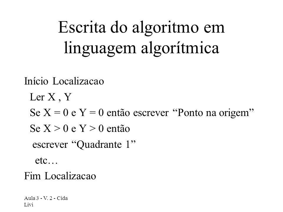 Escrita do algoritmo em linguagem algorítmica