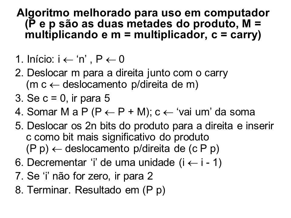 Algoritmo melhorado para uso em computador (P e p são as duas metades do produto, M = multiplicando e m = multiplicador, c = carry)