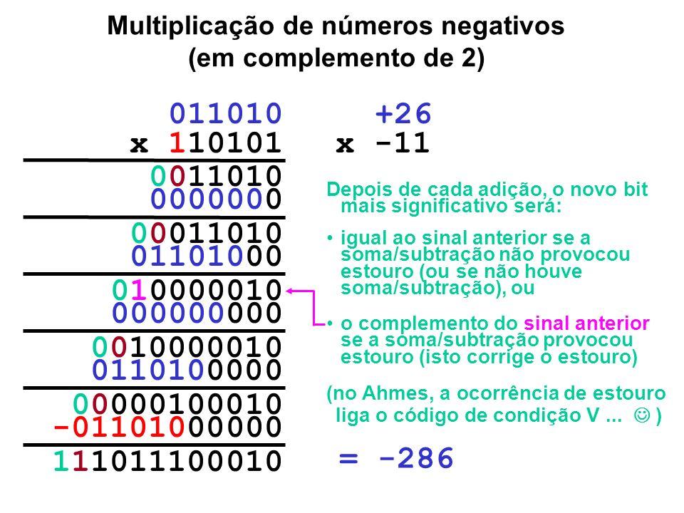 Multiplicação de números negativos (em complemento de 2)