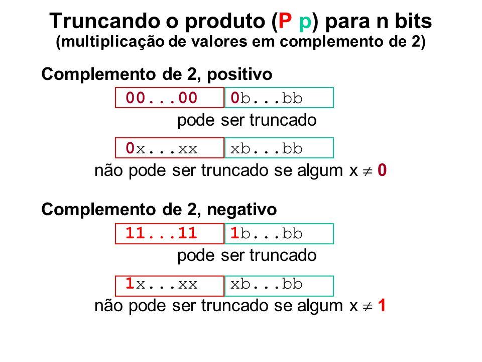 Truncando o produto (P p) para n bits (multiplicação de valores em complemento de 2)