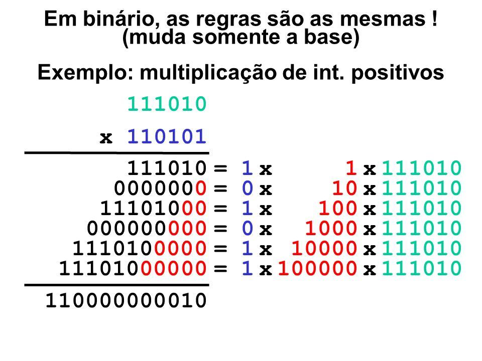 Em binário, as regras são as mesmas