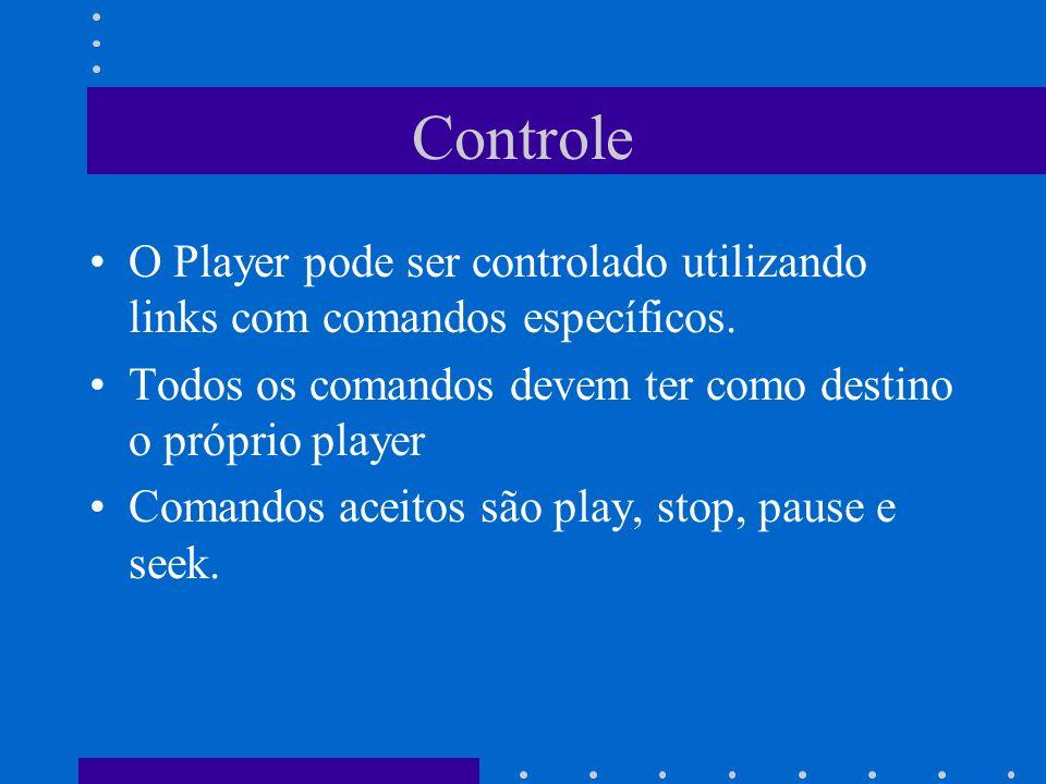 Controle O Player pode ser controlado utilizando links com comandos específicos. Todos os comandos devem ter como destino o próprio player.