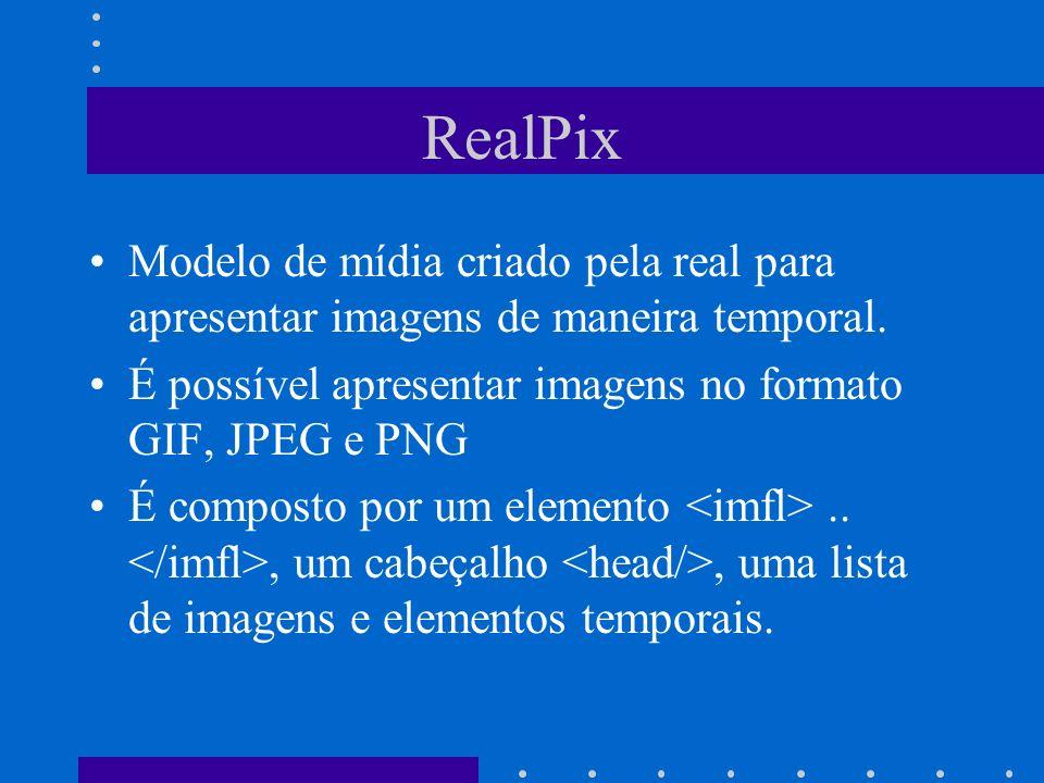 RealPix Modelo de mídia criado pela real para apresentar imagens de maneira temporal. É possível apresentar imagens no formato GIF, JPEG e PNG.