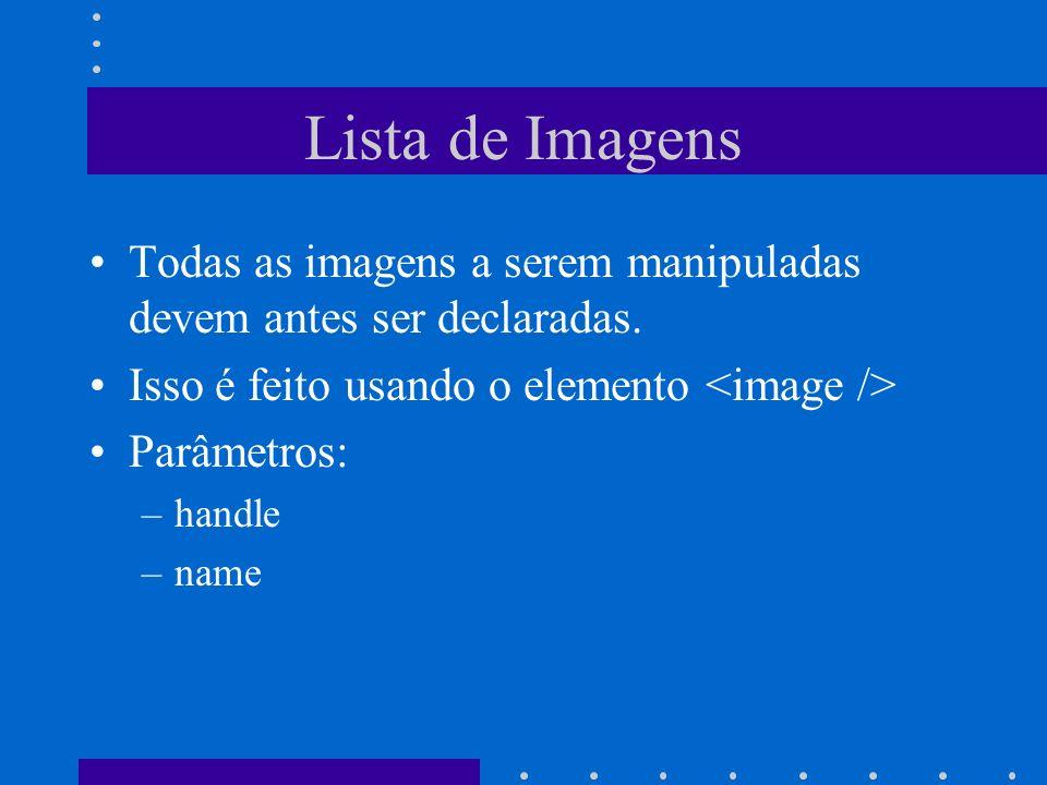 Lista de Imagens Todas as imagens a serem manipuladas devem antes ser declaradas. Isso é feito usando o elemento <image />