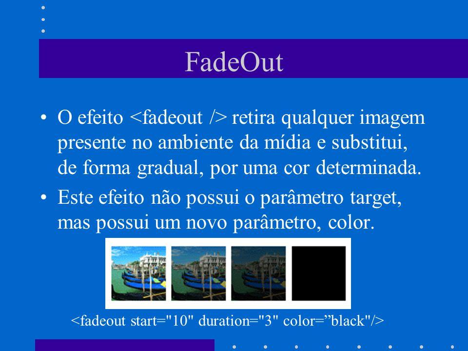 FadeOut O efeito <fadeout /> retira qualquer imagem presente no ambiente da mídia e substitui, de forma gradual, por uma cor determinada.
