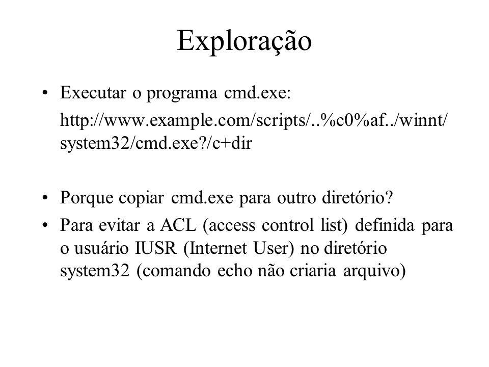 Exploração Executar o programa cmd.exe:
