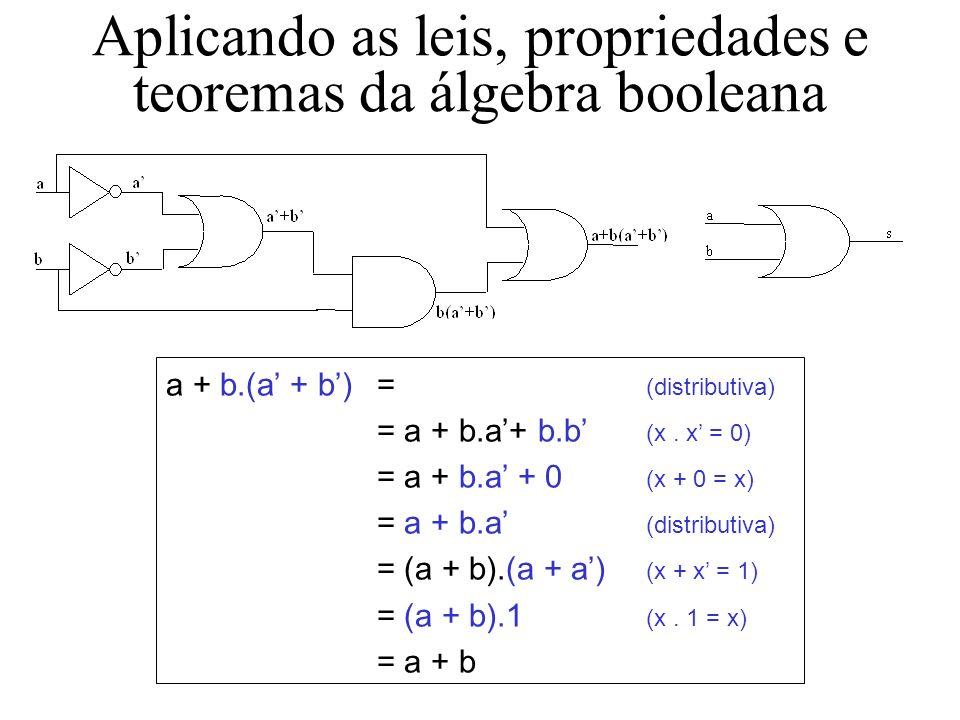 Aplicando as leis, propriedades e teoremas da álgebra booleana