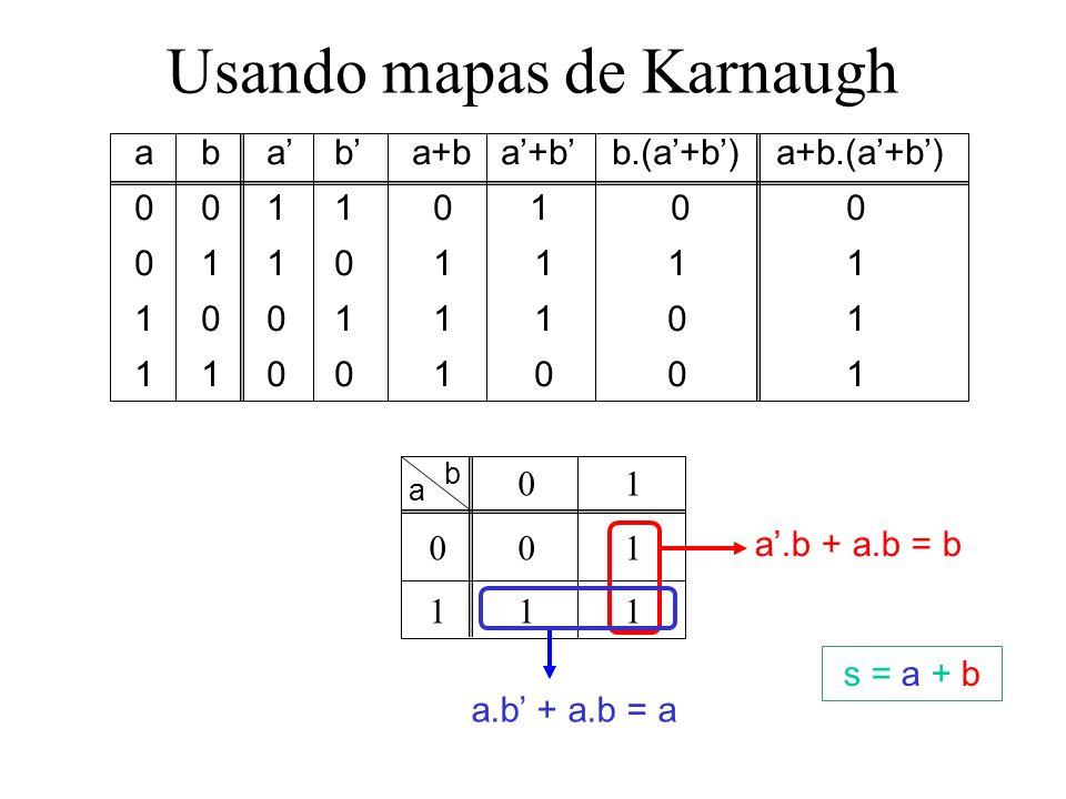 Usando mapas de Karnaugh