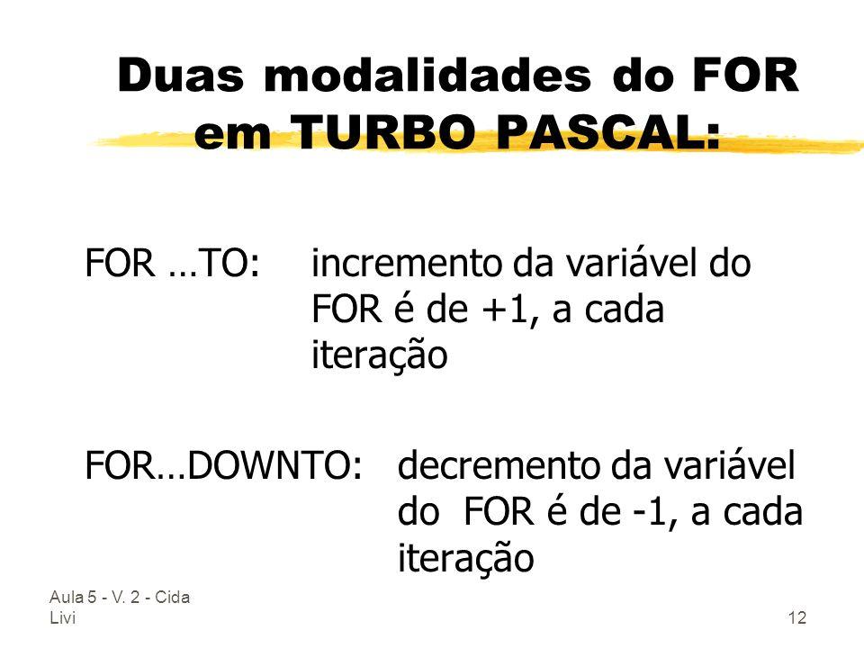 Duas modalidades do FOR em TURBO PASCAL: