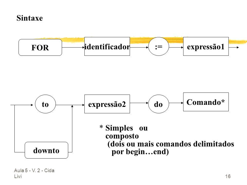 identificador := expressão1 FOR Comando* to expressão2 do downto