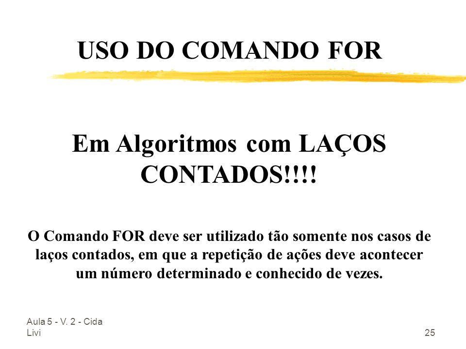Em Algoritmos com LAÇOS CONTADOS!!!!