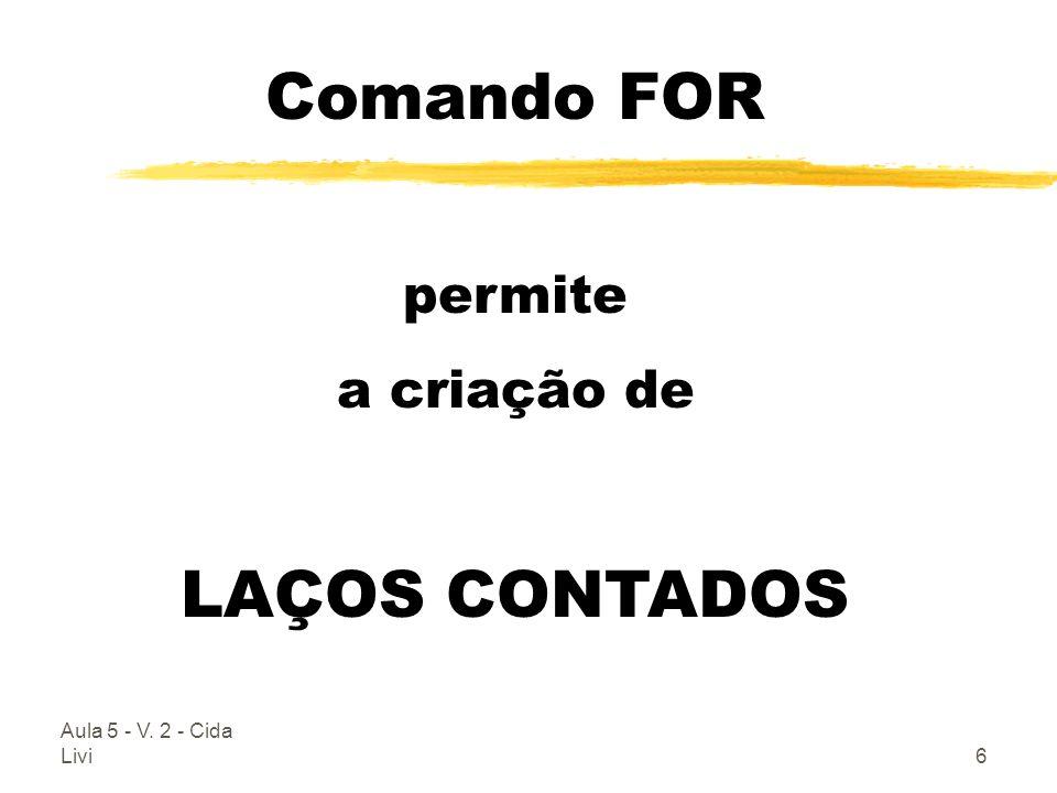 Comando FOR LAÇOS CONTADOS permite a criação de
