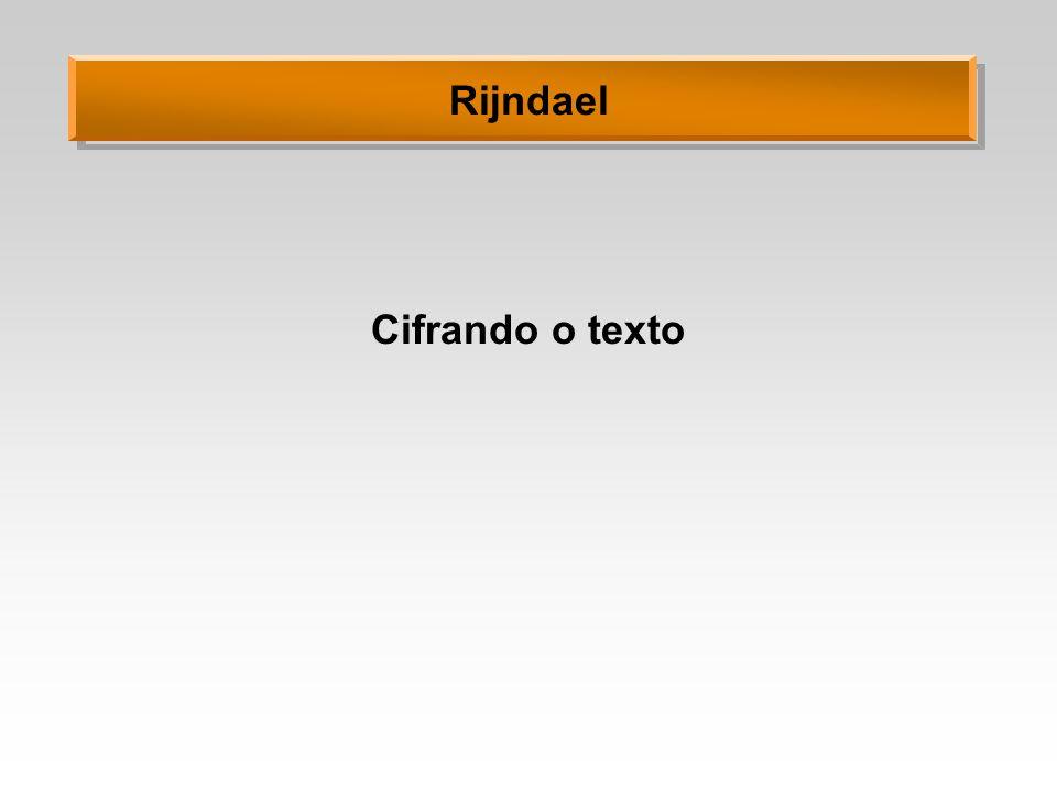 Rijndael Cifrando o texto