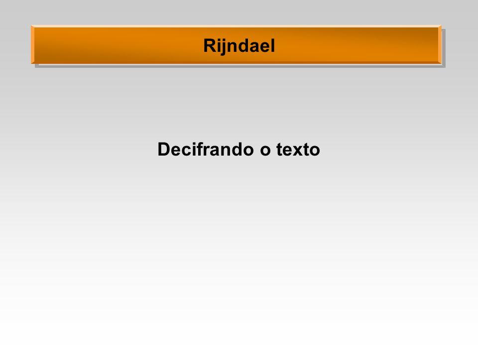Rijndael Decifrando o texto