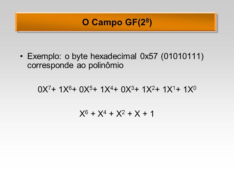 O Campo GF(28)Exemplo: o byte hexadecimal 0x57 (01010111) corresponde ao polinômio. 0X7+ 1X6+ 0X5+ 1X4+ 0X3+ 1X2+ 1X1+ 1X0.