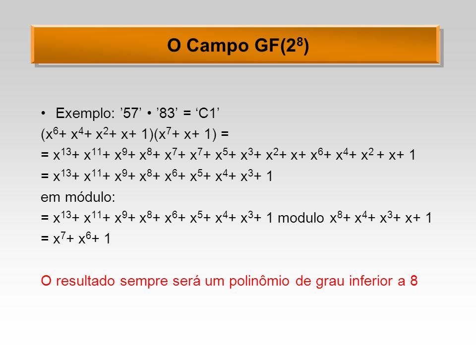 O Campo GF(28) Exemplo: '57' • '83' = 'C1'
