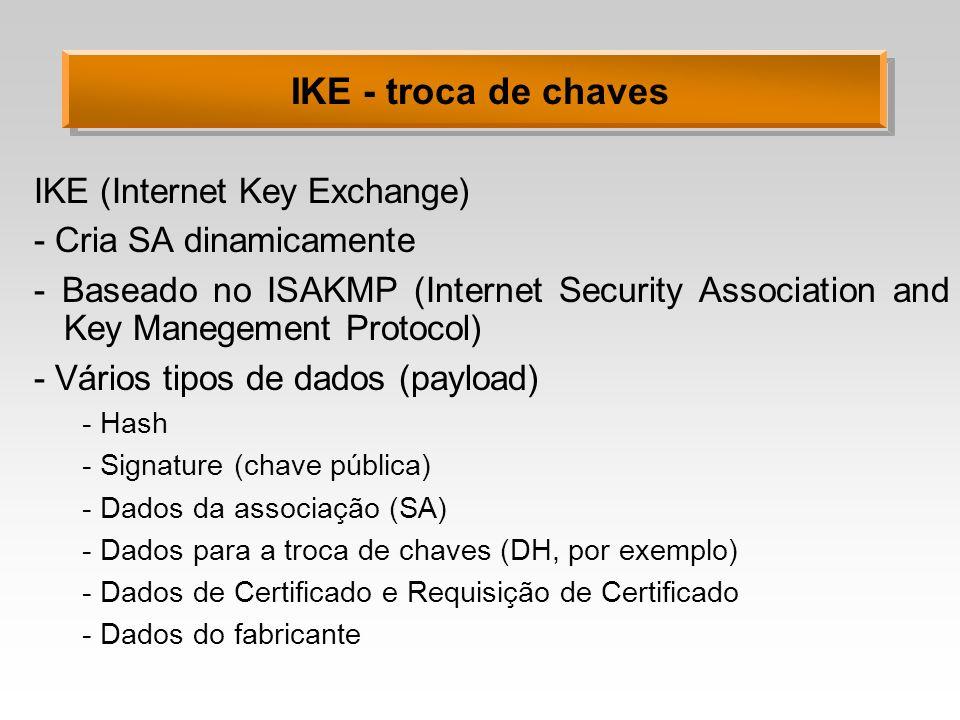 IKE - troca de chaves IKE (Internet Key Exchange)