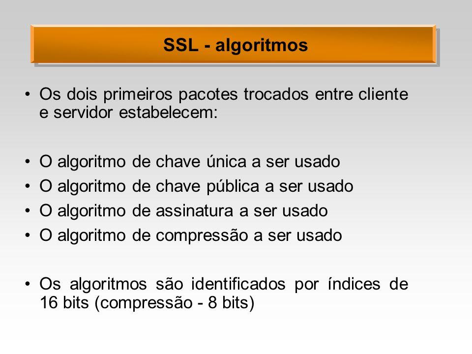 SSL - algoritmos Os dois primeiros pacotes trocados entre cliente e servidor estabelecem: O algoritmo de chave única a ser usado.