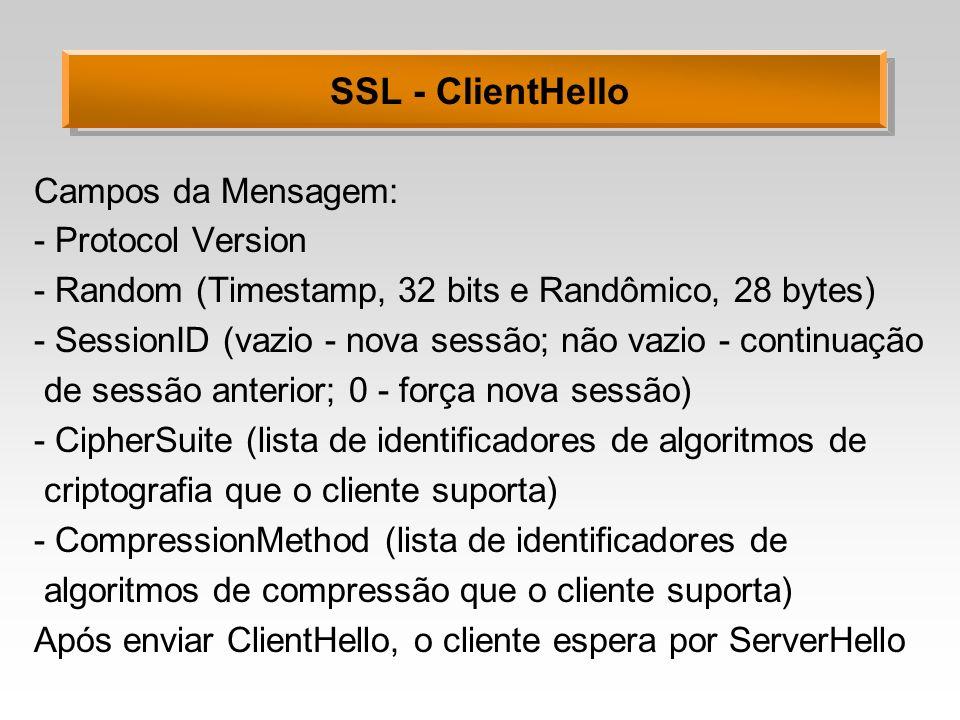 SSL - ClientHello Campos da Mensagem: - Protocol Version