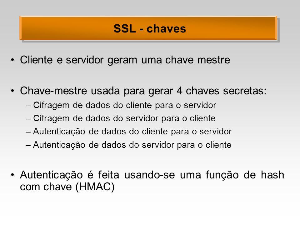 SSL - chaves Cliente e servidor geram uma chave mestre