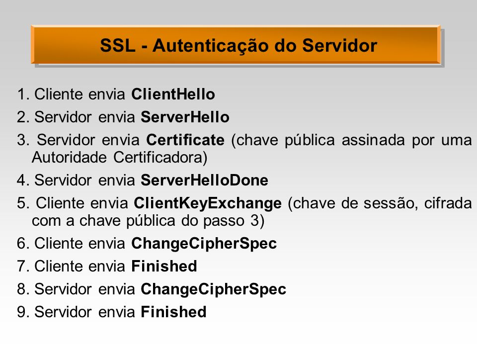 SSL - Autenticação do Servidor