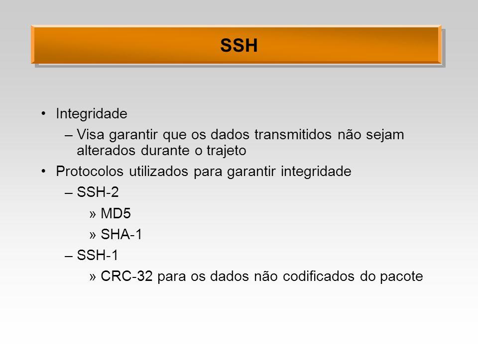 SSH Integridade. Visa garantir que os dados transmitidos não sejam alterados durante o trajeto. Protocolos utilizados para garantir integridade.