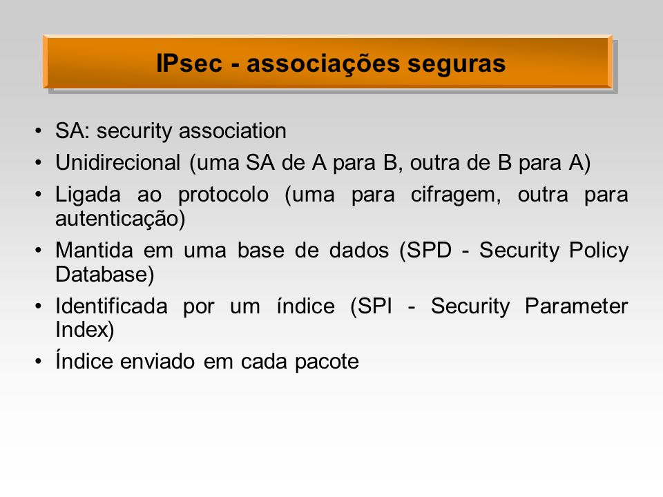 IPsec - associações seguras