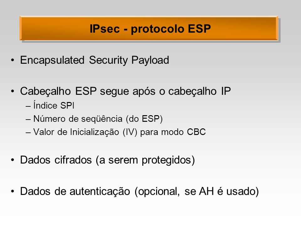 IPsec - protocolo ESP Encapsulated Security Payload