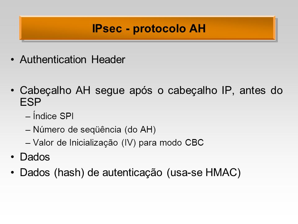 IPsec - protocolo AH Authentication Header