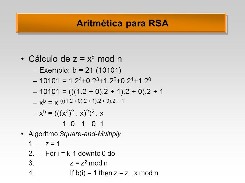 Aritmética para RSA Cálculo de z = xb mod n Exemplo: b = 21 (10101)