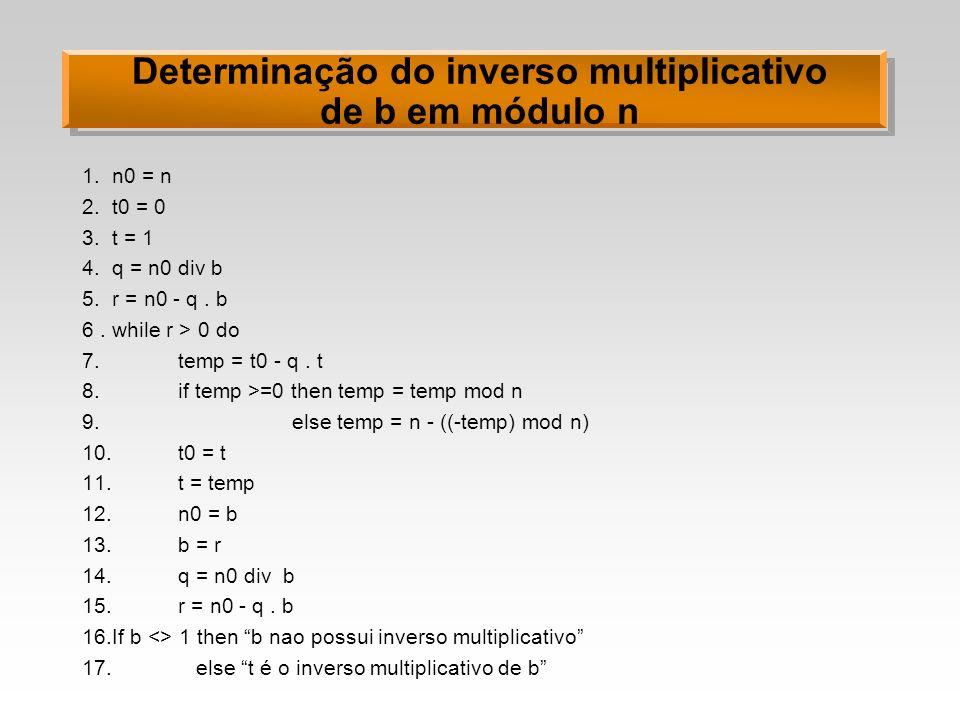 Determinação do inverso multiplicativo de b em módulo n