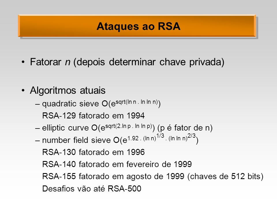 Ataques ao RSA Fatorar n (depois determinar chave privada)