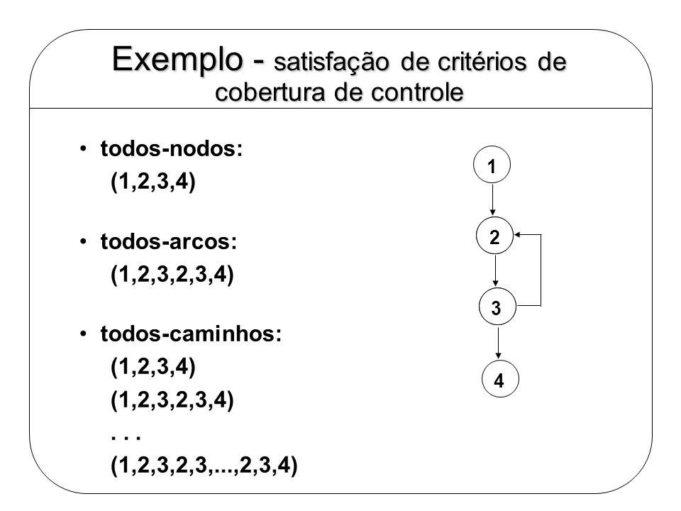 Exemplo - satisfação de critérios de cobertura de controle